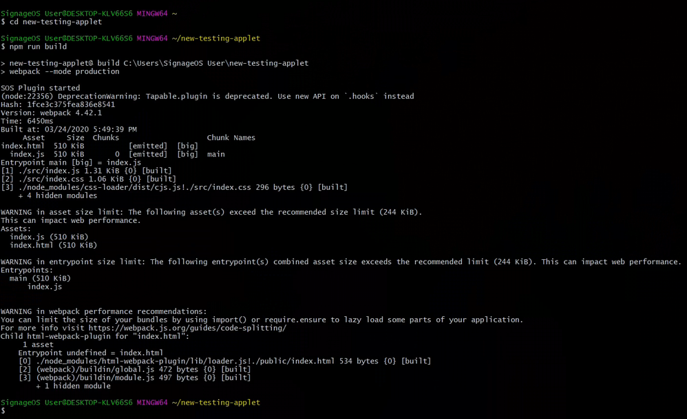 signageOS CLI HTML5 application build