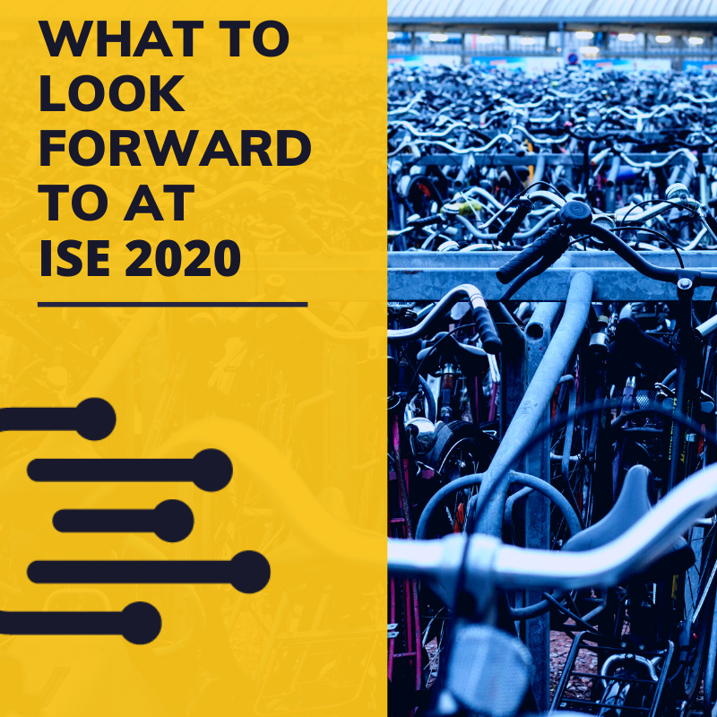 """text that reads """"what to look forward to at ISE 2020"""" on a yellow background with an image to the right of bikes parked tightly together in Amsterdam"""